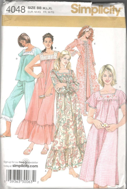 79059f594b Simplicity 4048 Misses Nightgown Pajamas Robe Pattern Womens