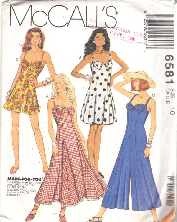 McCalls 6581 Missed Jumpsuit Romper and Bra Dress Pattern   Etsy