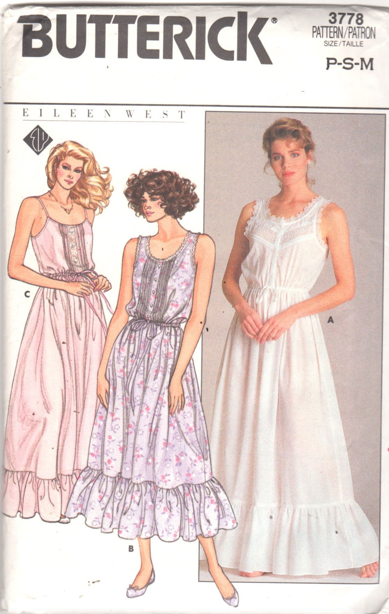 b7ab6ce698 Butterick 3778 1980s EILEEN WEST Misses Romantic Nightgown Pattern Womens  Vintag... Butterick 3778 1980s EILEEN WEST Misses Romantic Nightgown Pattern  ...