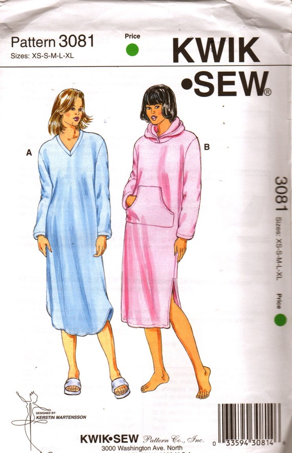 Kwik Sew 3081 Misses Pullover Nightgown Pattern Optional Hood | Etsy