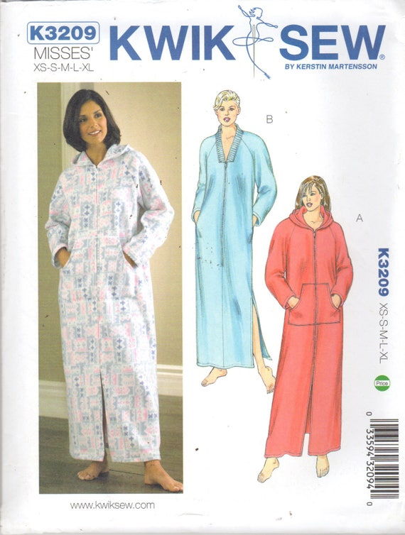 Kwik Sew 3209 Misses Zip Front ROBE Pattern Optional Hood | Etsy