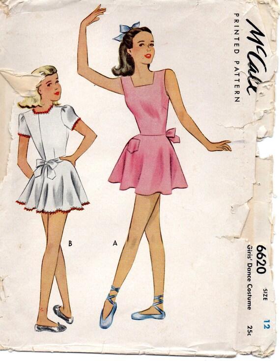 McCall 6620 1940s Mädchen Tanz Kostüm Muster Tellerrock Rock