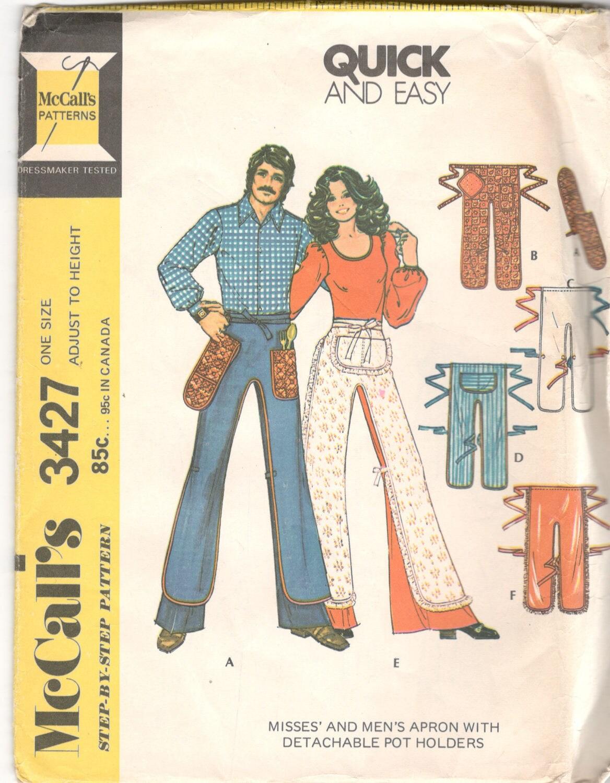 McCalls 3427 1970s Misses Mens Pants APRON Pattern Detachble | Etsy
