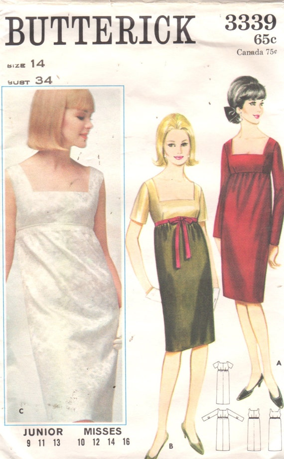 Butterick 3339 1960s falta noche vestido patrón imperio | Etsy