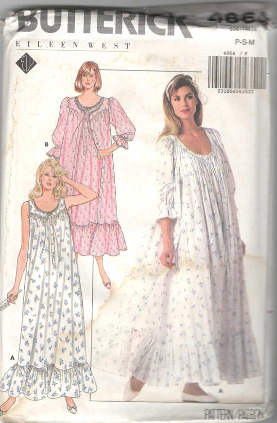 Butterick 4864 1980s EILEEN WEST Misses Nightgown and Robe