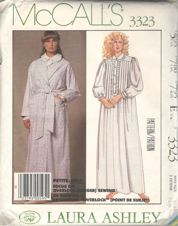 25c8490c4b McCalls 3323 1980s Misses Victorian Nightgown and Wrap Robe