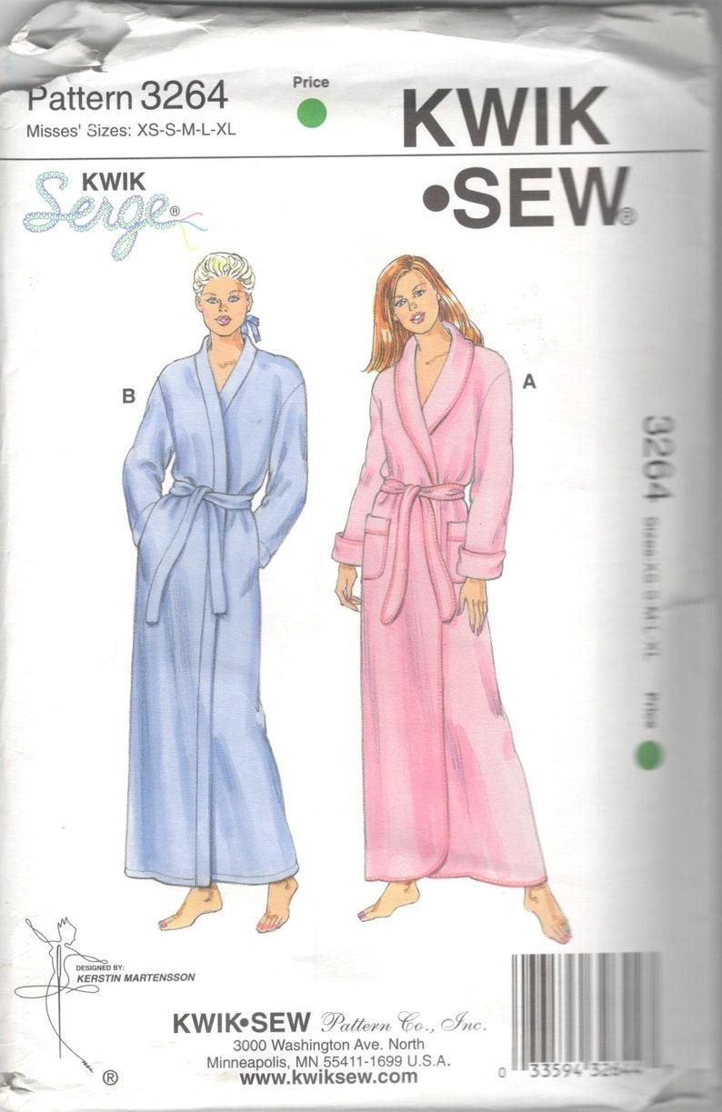 Kwik Sew 3264 Misses Cuffed Shawl Collar Wrap Robe Pattern  145d9c97f