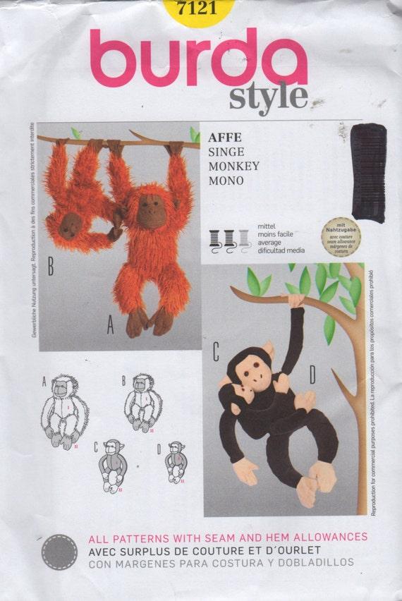 Burda 7121 mono chimpancé orangután costura patrón 3 tamaños | Etsy