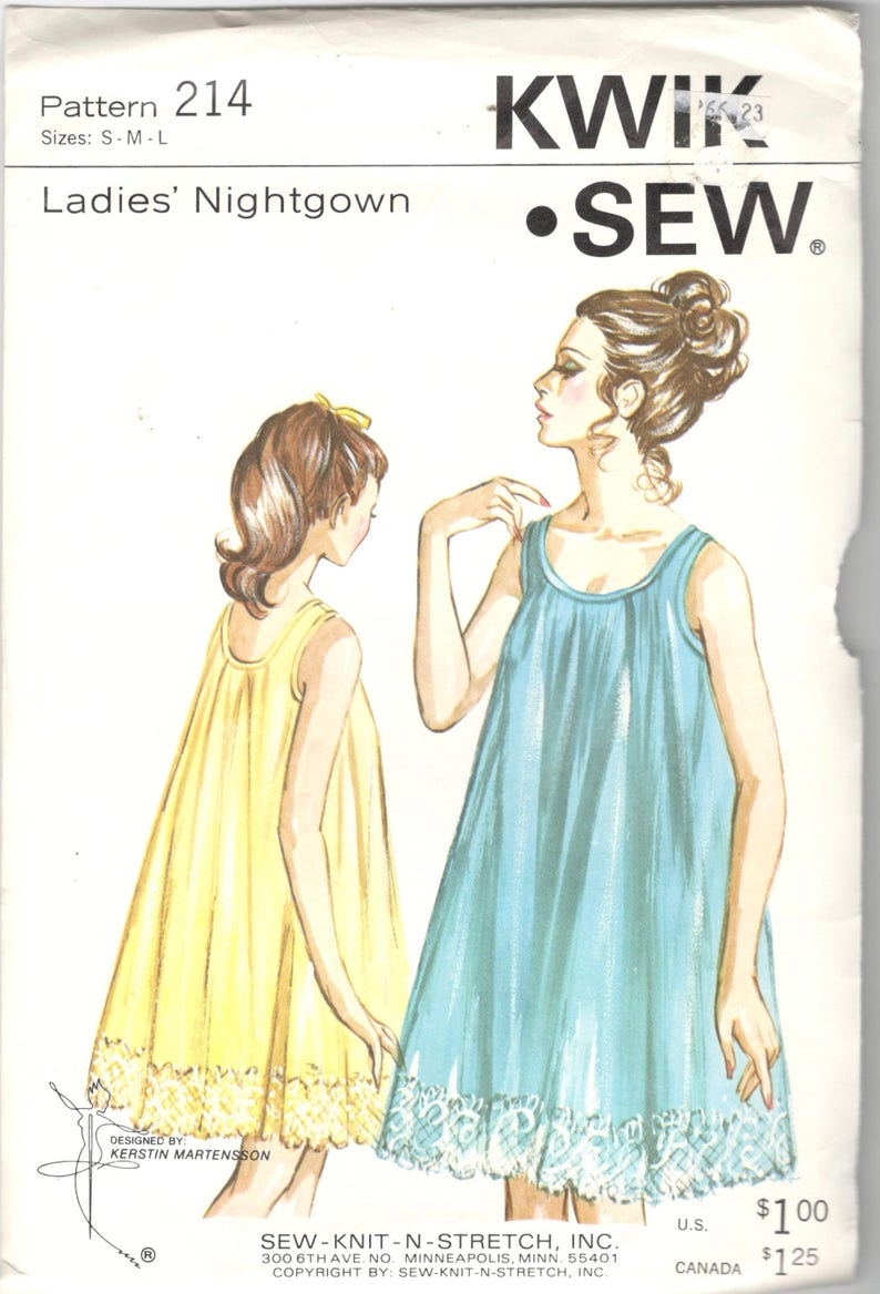 1086f88199 Kwik Sew 214 1960s Misses Two Layer Nightgown Pattern Tricot