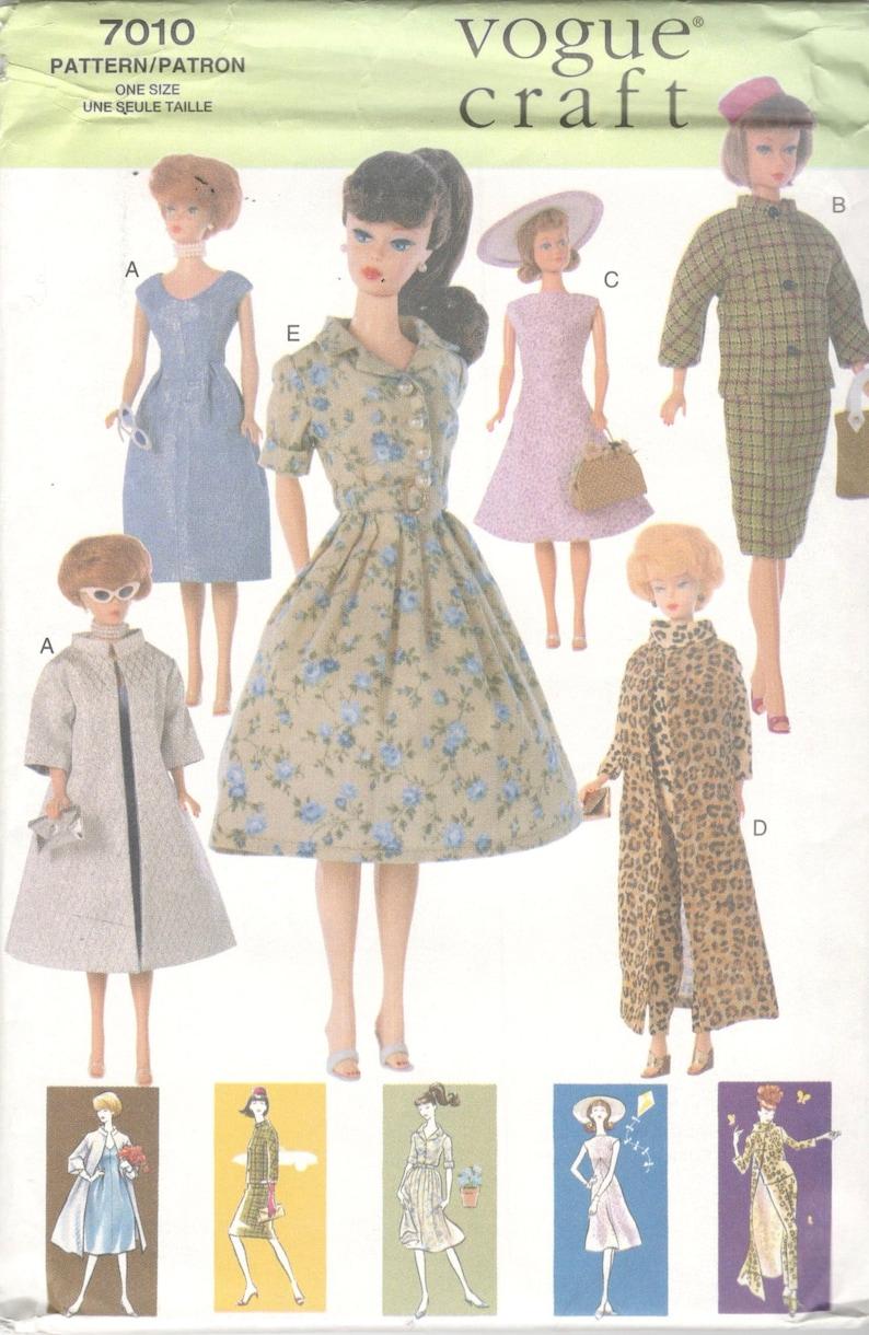 Vogue 7010 1960s Style 11 12 Inch Barbie Doll Clothes Pattern 5 Outfits Dress Coat Hat Coat Pants Jacket Vest Bag Sewing Pattern