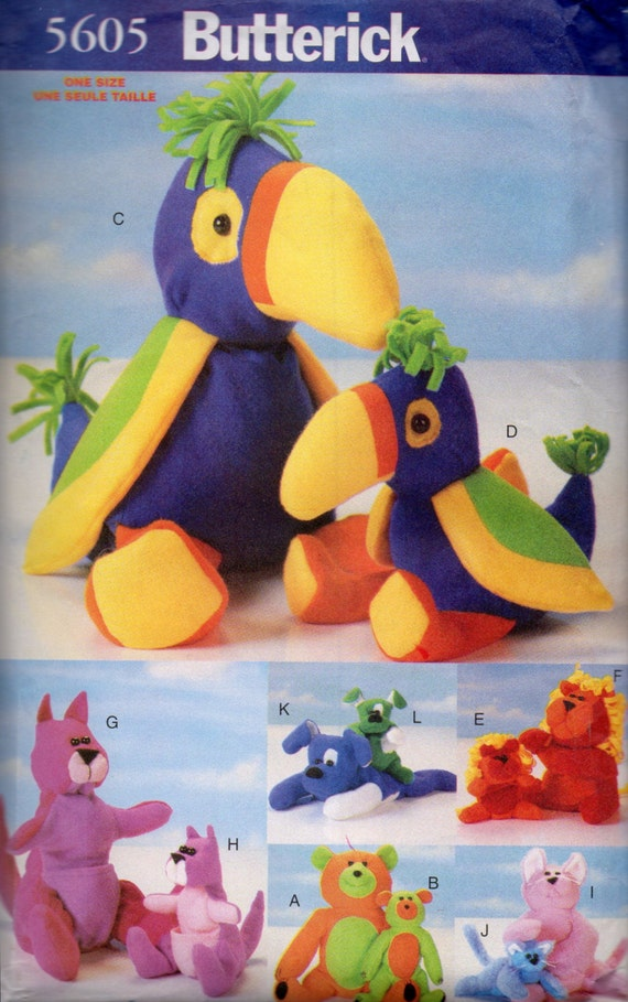 Buterick 5605 Bean Bag Tiere Nähen Muster Papagei Känguru Hund