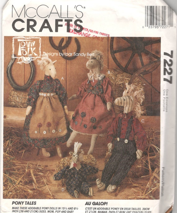 Mccalls 7227 Pony Tales Boy And Girl Pony Doll And Clothes Etsy