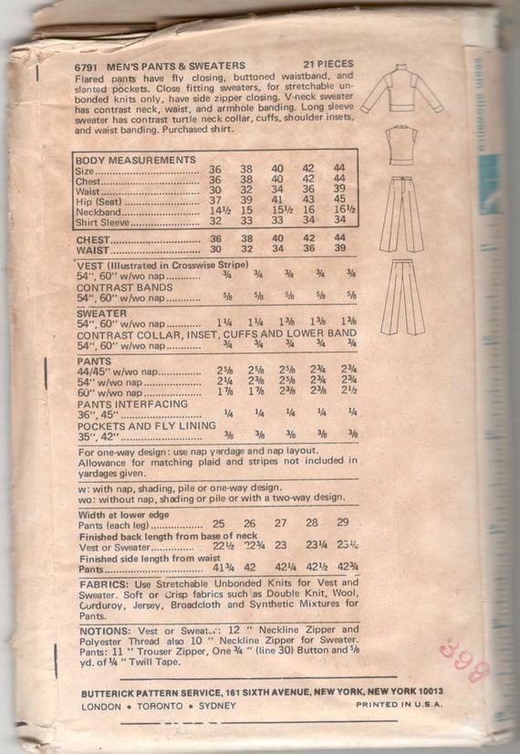 Butterick 6791 1970s Kenzo von J.A.P Mens Schlaghosen und   Etsy