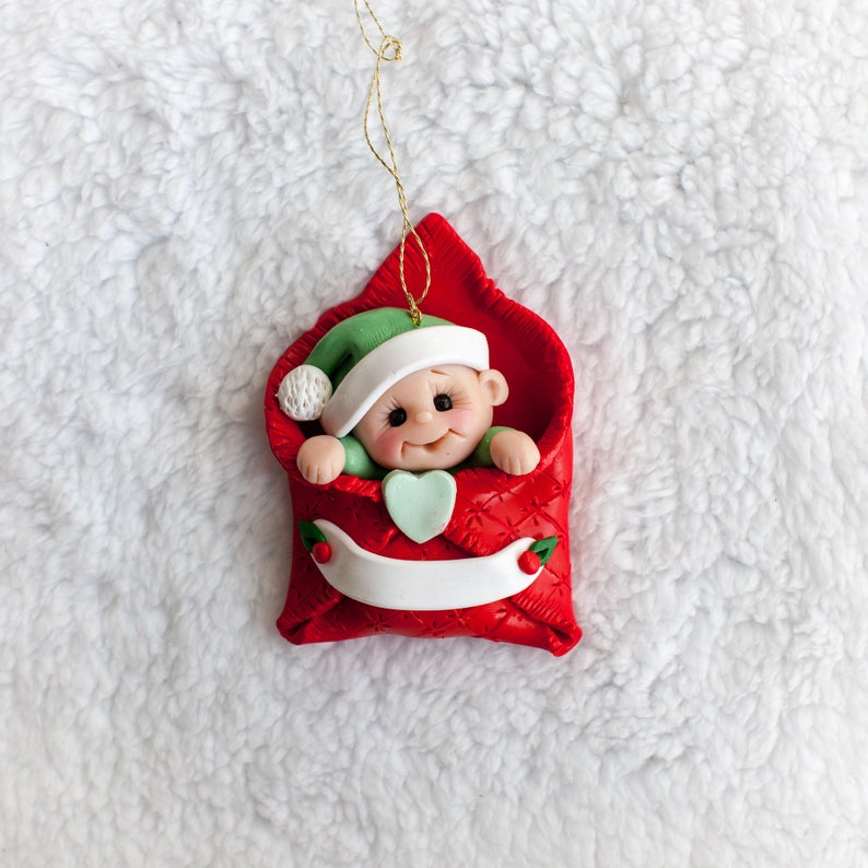 Baby Christmas Ornament Polymer Clay First Christmas Ornament Baby S First Christmas Ornament Personalized Gift Red Christmas Ornament