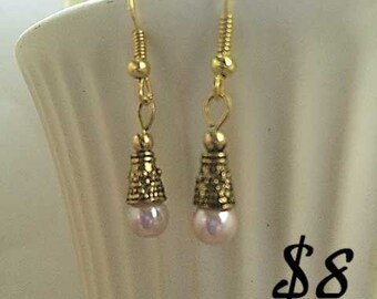 Gold and Pink Pearl Drop Earrings