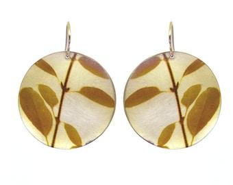 Yellow Leaves Disc Earrings