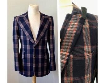 c8fc8da7 Vintage 70s Plaid Sports Jacket S Tartan Blazer by Santerre