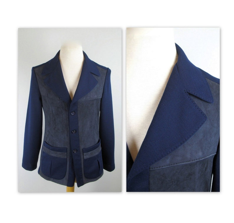 d48f3b70f2c Vintage 60s Hipster Sweater Jacket S Dark Blue Knit with suede