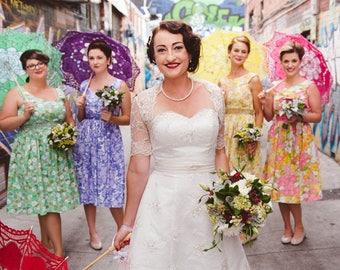 Wedding Quartet - 4 Bridesmaids / handmade floral tea dresses