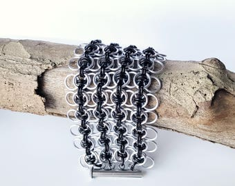 Celtic Wings Chainmail Cuff Bracelet