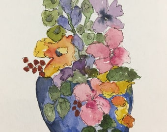 Watercolor, Blue Pot of Posies