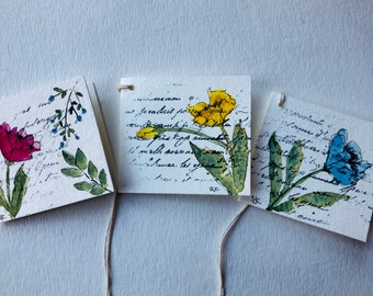 Hand Painted Original Folded Gift Tags (d)