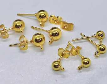 13 Pieces Copper Fire Torched Round-Wire Oblong Post Earring with Loop