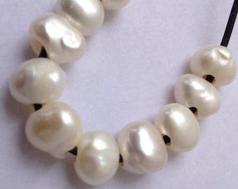 1 Strand Large 2mm Hole Freshwater Pearl Beads Round Potato Ivory White b2489