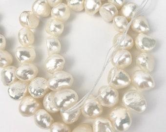 FLAMEBALL Fireball Freshwater Pearls,Huge White Nucleated Baroque Pearls,Full Strand 15.5,June Birthstone