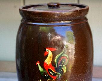 Primitive Stoneware Brown Crock Lid Rooster