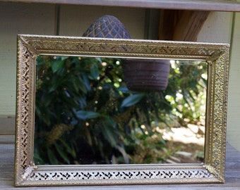 Vintage Ornate Gold Metal Mirrored Vanity Perfume Tray