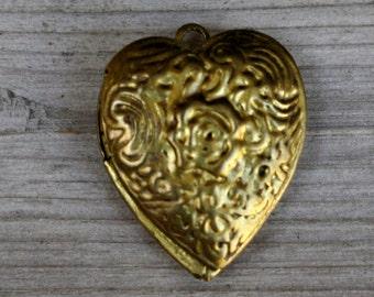 Vintage Retro Heart Locket Pendant Charm Gold Tone Engraved Love Forever