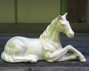 Lovely White Unglazed Porcelain Horse Sculpture Figurine Laying Down