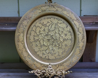 Large Vintage Pierced Brass Tray Reticulated Filigree