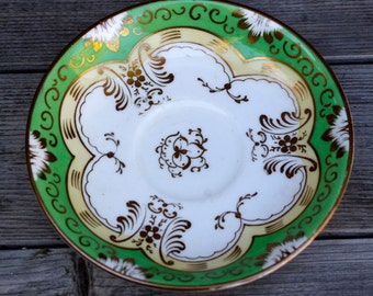 Vintage Green Hand Painted Saucer