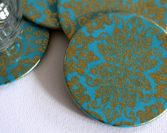 Maharaja Turquoise Round Drink Coasters - Set of 4
