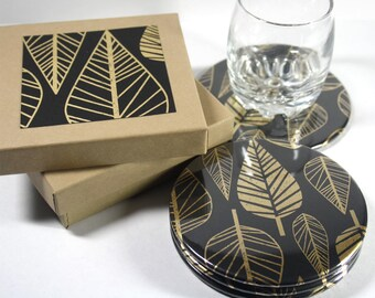 Golden Leaf Round Drink Coasters - Set of 4