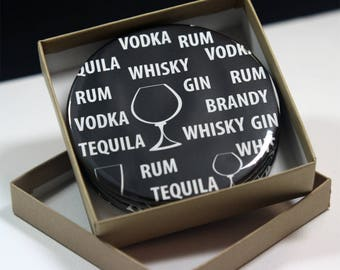 Spirit's  Black / White Round Drink Coasters - Set of 4