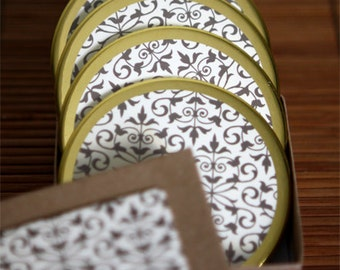 High Style Round Gold Rim Drink Coasters - Set of 4