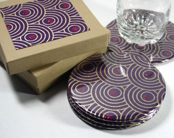 Purple Fusion Round Drink Coasters - Set of 4