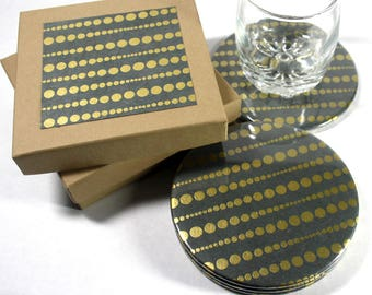 Golden Dots Round Drink Coasters - Set of 4