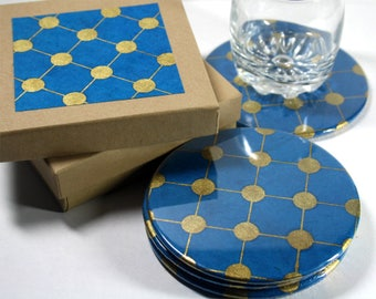 Turquoise / Gold Dot Round Drink Coasters - Set of 4