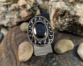 Sterling and Onyx Native American Signed Ring Navajo