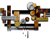 Big Contemporary Geometric Abstract Wood and Metal wall Sculpture-hotel art- mid century design-unique art  by Diva Art69 67x 40