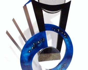 Sonic Blue- Wood and Metal with Mirror - Unique Abstract Art Modern Table Sculpture for home and office decor -Custom Art by Zannalisa