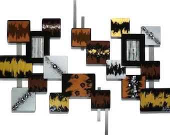 sculpture murale de asianna abstrait th me asiatique bois. Black Bedroom Furniture Sets. Home Design Ideas