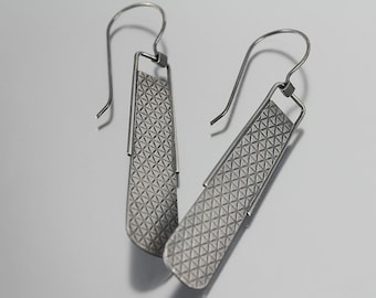 Modern Abstract Triangle Textured Kinetic Sterling Silver Dangles