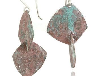Mint Rosé, Mint Pink Lemonade Patinated Three Dimensional Modern Dangle Earrings