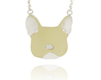 Reversible French Bulldog Head Silhouette, Brass and Sterling Pendant