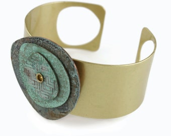 Colorful Abstract Art Jewelry Layered 3D Patina Cuff Bracelet - Iron Rustic Navy and Teal
